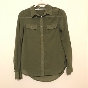 American Eagle Sheer Olive Green Button Down